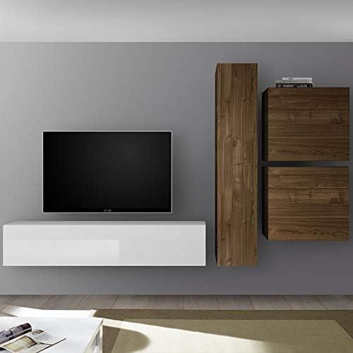 Noviomeuble - Mueble de TV de pared lacado y color nogal punta ...