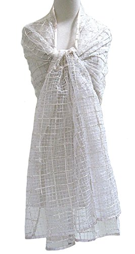Ribbon Grid Sheer Silk Tulle Net Shawl Wrap Scarf Stole Table Runner Ivory by Steel Paisley