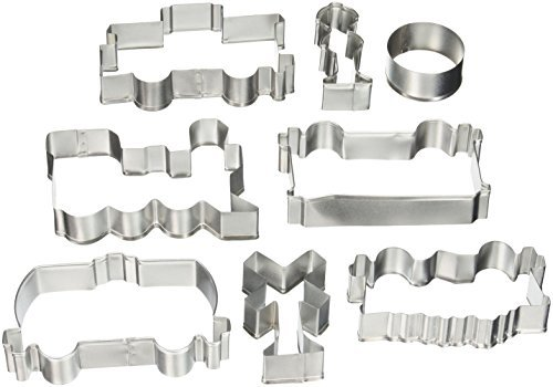 R & M International Best Selling Set of Train Themed Cookie Cutters - Includes Engine, Caboose, 3 Rail Cars and 3 Assorted Signs - 4.5 - 2.5 by R&M