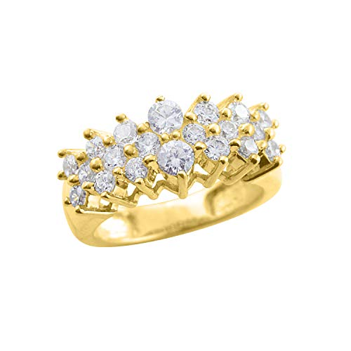Diamond Scotch Round Cut Cubic Zirconia Cluster Cocktail Ring in 14K Yellow Gold Over Ring Size - 7