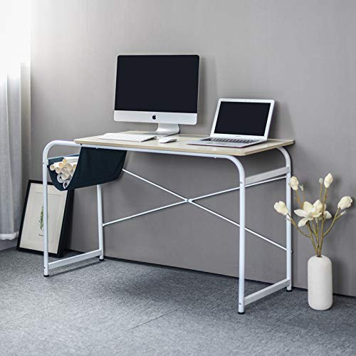 Cloudro Desktop Computer Desk Laptop Study Table Office Desk with Cloth Bag Storage (Sheet and Metal, White)