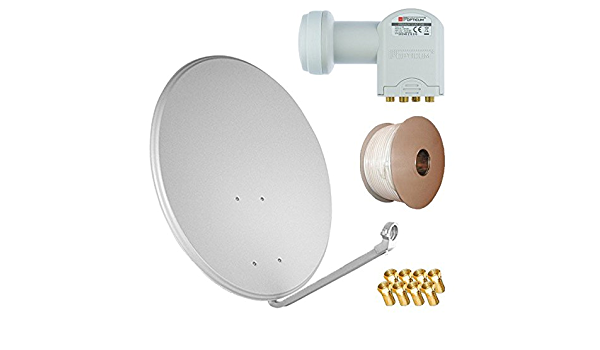 Aluminio satélite (Antena Parabólica 80 cm espejo + HD Quad ...