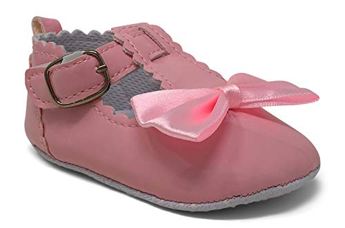 Jar of Hearts Toddlers/Infants Girl's Ballerina Flat with Buckle and Bow (6-9 Months, Pink)
