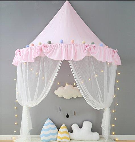 HR, Children's Indoor Decoration Tienda de campaña House Bed Head Ropa de cama de algodón Blanco/Rosa/Negro/Gris, Rosa