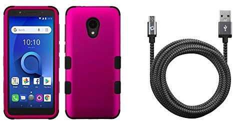 Protector Case Shield Magenta (Bemz Accessory Bundle Designed for Alcatel TCL LX - TUFF Hybrid (Military Grade Certified) Case (Magenta Hot Pink) with Heavy Duty Nylon Braided Micro USB Cable (9 Feet) and Atom Cloth)