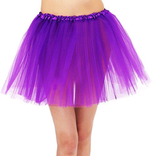Fun 10K Dash Run Adult 3 Layered Ballerina Tutu w/ Stretchy Waistband, Purple