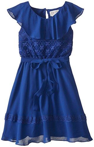 Blush by Us Angels Big Girls' Ruffle Top Dress, Navy, 14