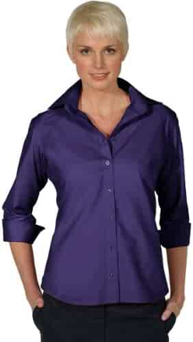 14016afad387b2 Edwards Garment Women s Open Neck 3 4 Sleeve Narrow Placket Poplin Blouse
