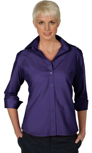 Poplin 3/4 Sleeve Shirt - Edwards Garment Women's 3/4 Sleeve Poplin Blouse, PURPLE, Medium
