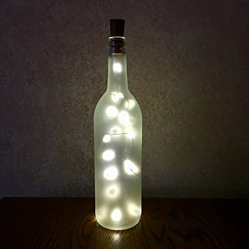 Frosted Empty Wine Bottle With Twinkle Fairy Lights Powered From The Cork, Wine Bottle Decor With Lights, Wine Bottle Crafts & Centerpieces