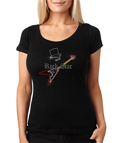 bling rhinestone ''ROCK STAR'' Next Level Woman Scoop Tee 3530. Crystal Heat Transfer motif - Rock Rhinestone Star
