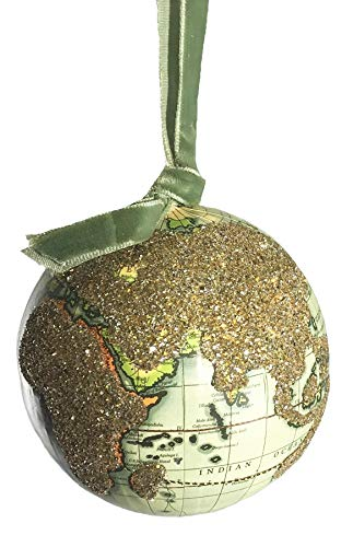 Cody Foster amp Co Old World Map Globe Glass Hanging Ornaments Natural