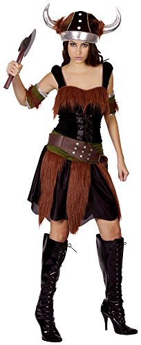Bristol Novelty AC883 Viking Lady Costume, Brown, Size 10-14 -