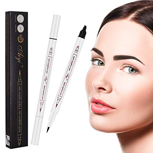 2 Pack Dark Brown Eyebrow Pencil Microblading with a Micro Fork Tips + Black Liquid Eyeliner/Waterproof Stays on All Day…