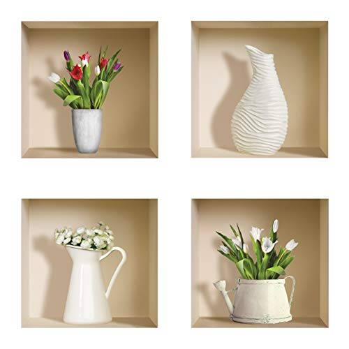 The Nisha Art Magic 3D Vinyl Removable Wall Sticker Decals DIY, Set of 4, White Vase and Green Plants - Set Decal White