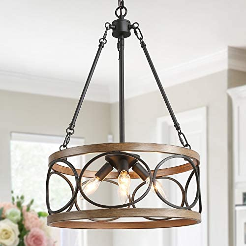 KSANA Farmhouse Drum Chandelier, Modern Faux Wood Light Fixture for Dining Living Room, Bedroom and Foyer, Bronze