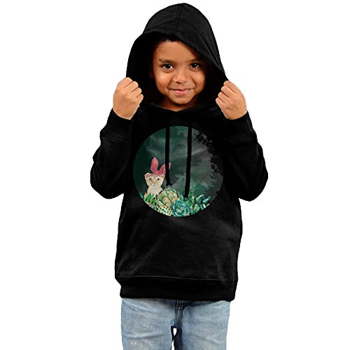 Child Color Cat Kitty Look At You Toddler Boy's Girl's Long Sleeve Hoodies Sweatshirt (Child Black Kitty Hoodie)