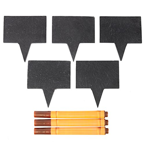 with Chalkboard Markers - 5 Natural Slate Boards and 3 Soapstone Chalk Markers for Parties and Dinner | Perfect Gift Idea ()