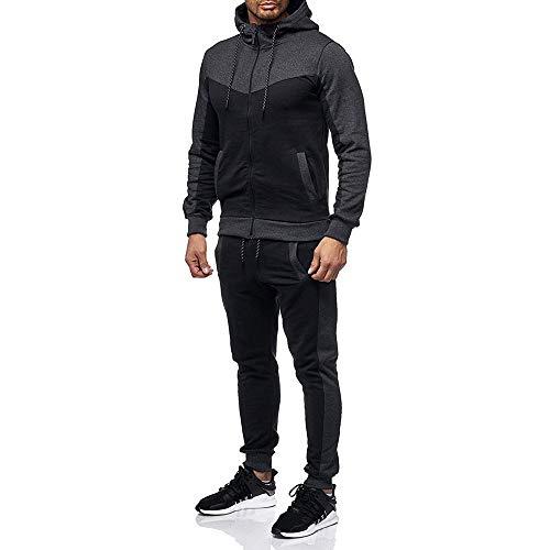 Zainafacai Fashion Tracksuits, 2018Mens Winter Athletic Zipper Hoodie Jacket Coat/Sweatpants Sports Gym Sportswear (Dark Gray, M) (Gray Mens Track Jacket)