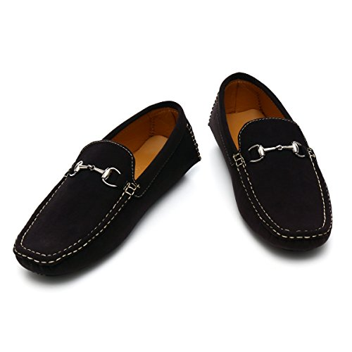 Verman Hombres Slip On Loafer Driving Boat Zapatos Classic Suede Black