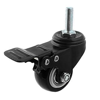eDealMax 8 mm x 25 mm Con rosca del vástago 1, 5 pulgadas Diámetro de la rueda giratoria Freno Caster Negro: Amazon.com: Industrial & Scientific