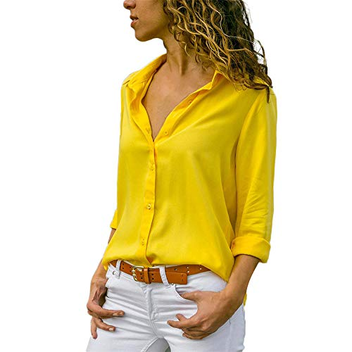 Aniywn Women Casual Chiffon Long Sleeve Shirt Tops Stand Collar Office Lady Formal Loose Blouse Yellow