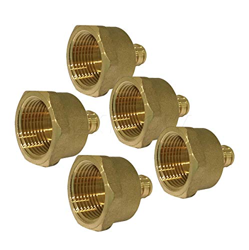 Threaded Brass Adapter - Pexflow EPFA3410-5 PEX Barb x Female Pipe Thread Adapter Fitting, 3/4 x 1, Brass, 5 piece