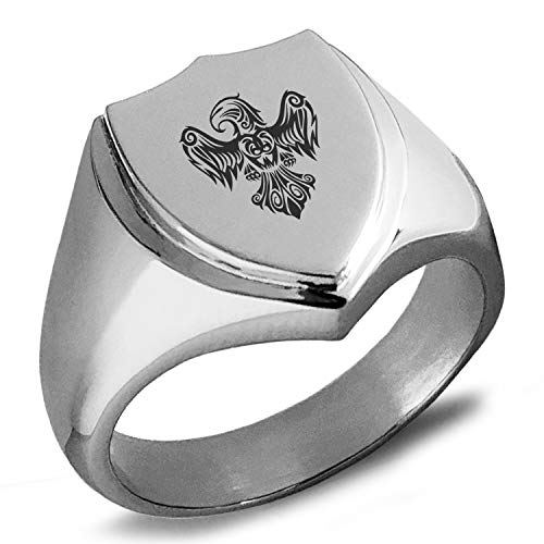 (Tioneer Stainless Steel Aztec Power Strength Courage Rune Shield Biker Style Polished Ring, Size 11)