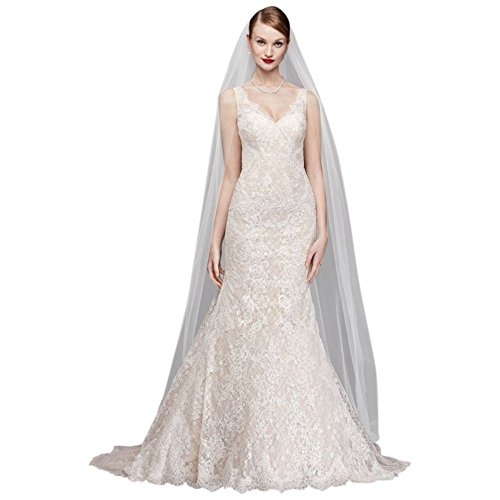 David's Bridal Oleg Cassini Corded Lace Petite Wedding Dress Style 7CWG747, Solid White, (Oleg Cassini Bridal Dresses)