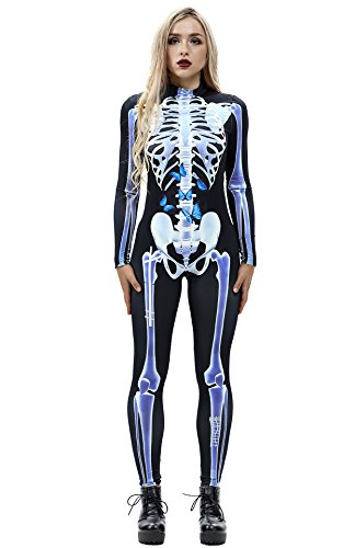 URVIP Women Halloween Skeleton Costume Stretch Skinny Catsuit Jumpsuit Bodysuit BAX-012 -