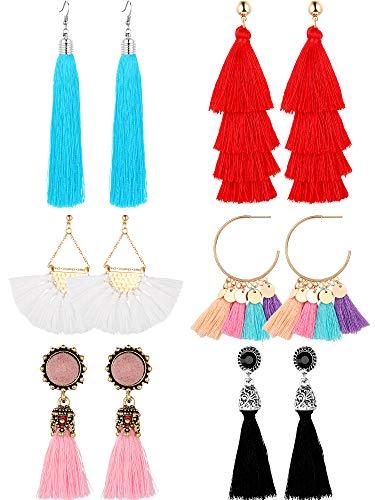 (6 Pairs Tassel Earrings Straw Rattan Earrings for Women Girls Long Multi-Layer Tassel Earrings Fan Tassel Earrings Bohemian Vintage Dangle Earrings (Color Set 2))