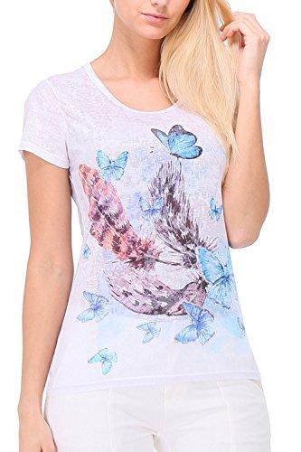 Zelia - Camiseta - Animal Print - Cuello redondo - para mujer blanco