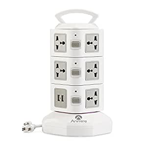 Anmire Vertical Power Strip Multi-sockets 11 Outlets and 2 USB, 2500W, 110-250 Worldwide Voltage Tower Power Socket Universal Jack Outlets with 6.5 Feet Cord for Home and Office