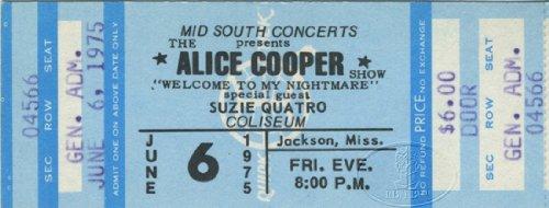 Suzi Quatro 1975 Unused Concert Ticket Alice Cooper