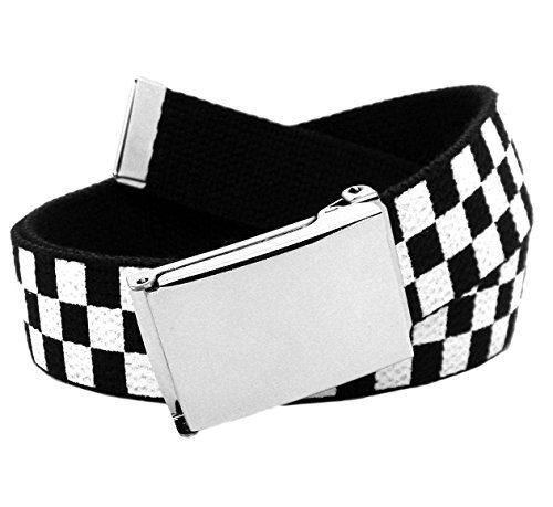 Men's Silver Flip Top Belt Buckle with Printed Canvas Web Belt Small Checkered (Printed Canvas Belt)