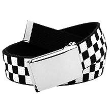 Men's Silver Flip Top Belt Buckle with Printed Canvas Web Belt