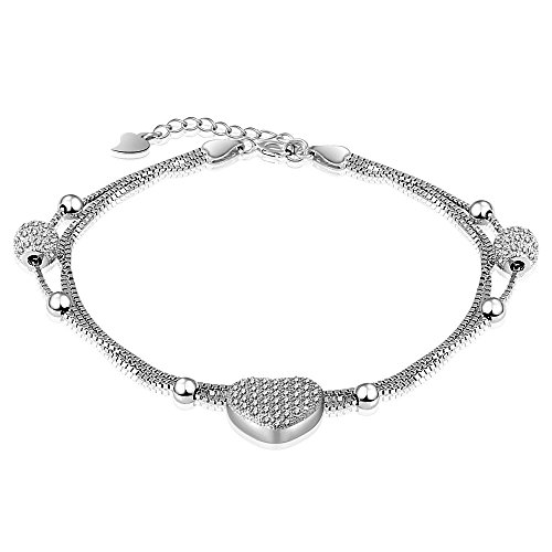 ([mis] Triple Strand Love Heart Crystal Bracelet Jewelry for Women and Girls)