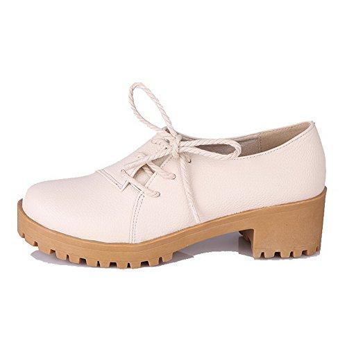 Odomolor Women's Lace-up Kitten-Heels PU Solid Round-Toe Pumps-Shoes, Beige, 41