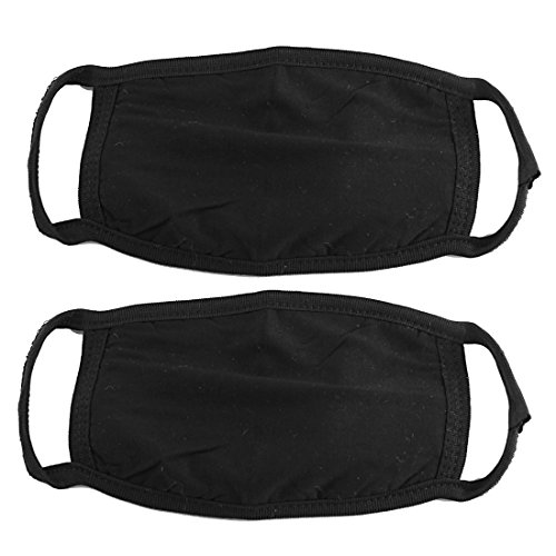 [2 Pcs Cotton Blend Anti Dust Face Mouth Mask Black for Man Woman] (Mouth Mask)