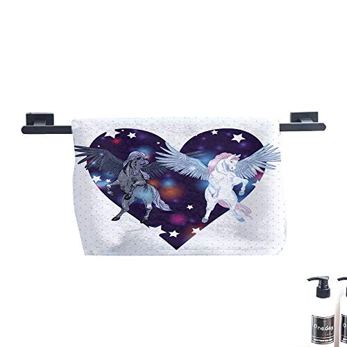 Dry Fast Towel,Vector Illustration with Pair Winged Pegasus.,Gym Swim Hotel Use W 23.5