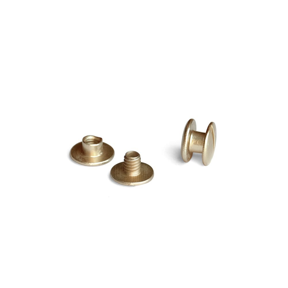 3/8 in. Antique Brass Aluminum Chicago Screws/Screw Posts (Qty 100 sets)