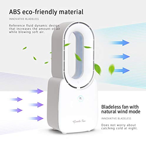 CONBOLA LED Bladeless Fan, 11.8 Inch Portable Desktop Table Fan Air Multiplier Cooler, Rechargeable USB Breeze Safety Quiet Fan with Touch Control 5-Colors Decorative Light for Office Bedroom (White)