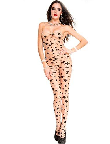 Music Legs Star Print Spandex Bodystocking- One ()