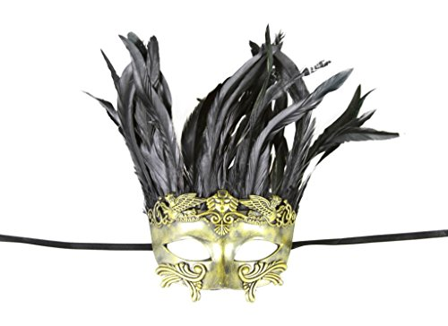 [KAYSO INC Roman Gladiator Venetian Masquerade Mask for Men w/ Feathers, Rustic Gold] (Cheap Roman Costumes)