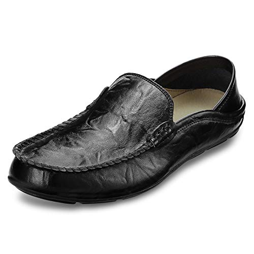 KCatsy Genuine Leather Casual Peas Shoes for Men Black