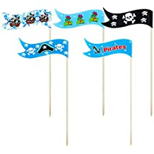 Pirate Flag Cake Cupcake Toppers Food Picks for Party Decorations Set of 25 by GOCROWN