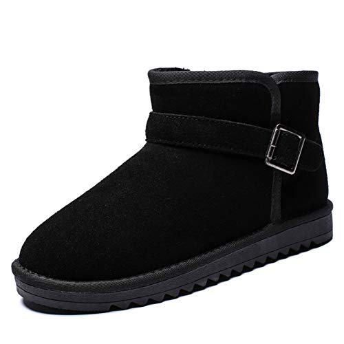 FOBEY Men-Women Suede Leather Winter Warm Classic Fur Lined Ankle Snow Boots Black