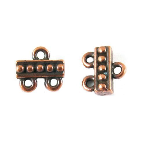 TierraCast Pewter Connectors-COPPER 2 to 1 BEADED LINKS (2) - Pewter Findings Antique Copper Plate
