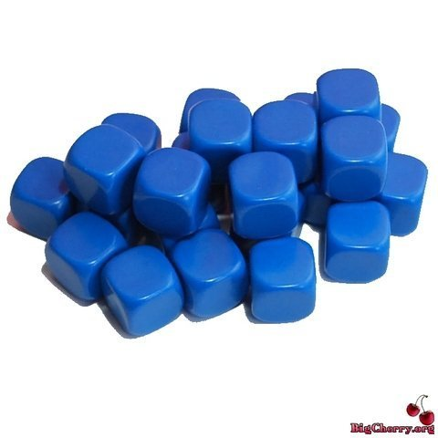 Cherry Dice - Big Cherry 24x Blank 16mm D6 (6 sided) Dice - Blue by BigCherry