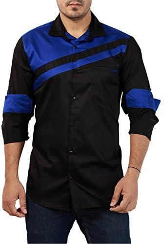 819bdd9512 Rapphael Casual Full Sleeve Plain Solid Shirt Men s(Black   Royal Blue)  Color(RPL-00616)